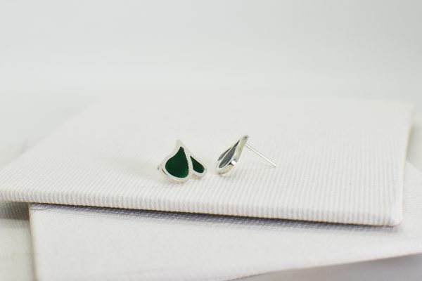 Cercei din argint si email din sticla – verde
