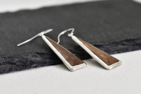 Cercei din argint cu insertii din lemn de nuc american