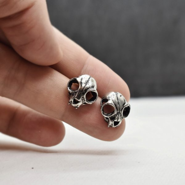 "Cercei din argint ""Cat Skull"""