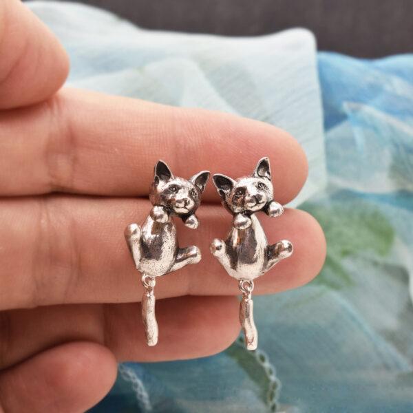 """Cercei din argint """"Pisici lipicioase"""""""