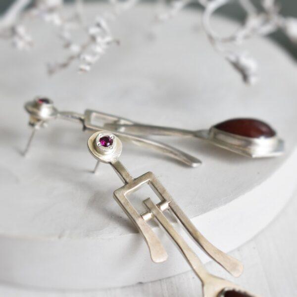 Cercei din argint cu calcedonii si zirconii