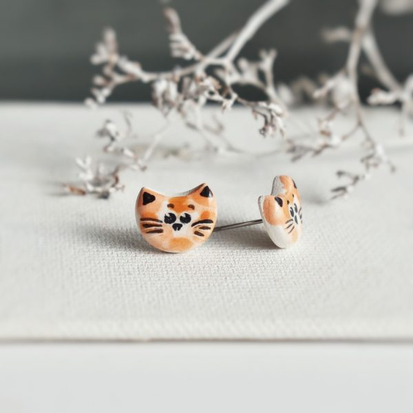"""Cercei din ceramica """"Pisici portocalii"""""""